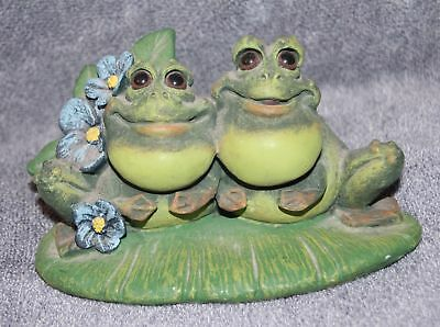 Couple of Frogs Sitting on Lily Pad - Pete Apsit - FIGURINE FIGURE - TWO FROG