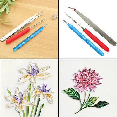 3Pcs DIY Hand Craft Tool Kit Quilling Slotted Paper Needle Scrapbooking Flower