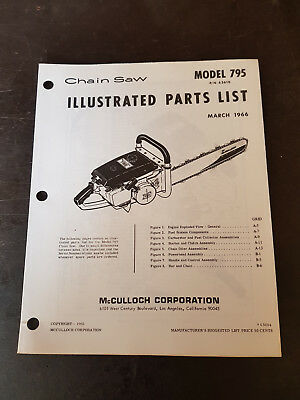 McCulloch Model 795 Chain Saw Illustrated Parts List 1966