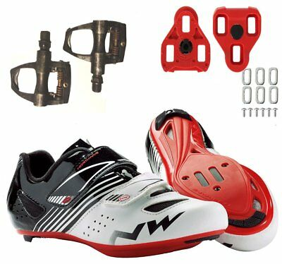Northwave Torpedo Junior Road Shoes 39 Youth + Look Keo Pedals + Cleats Cycling