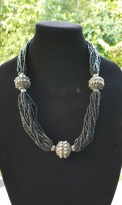 12 Strand Black Bead Nagaland Tribal Silver Decorated Necklace Jewellery .C59