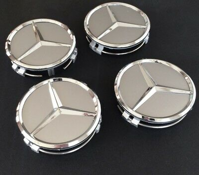 4x SILVER 75 MM Wheel Centre Caps for Mercedes- Benz Chrome