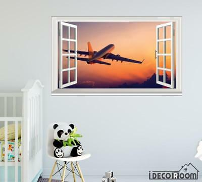 Airplane Aircraft Air Travel World windows wall sticker