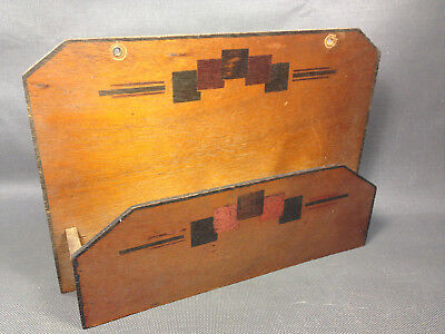 Antique small box wooden wall range paper or keys vintage french antique