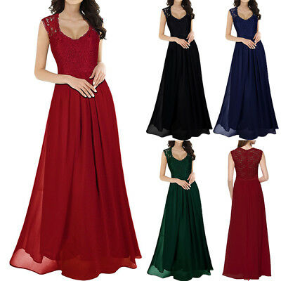 Long Chiffon Lace Evening Formal Party Ball Gown Prom Bridesmaid Dress Size 6-16