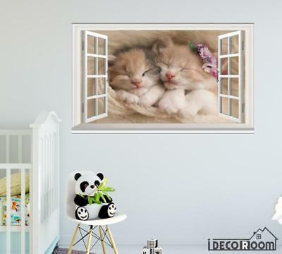 Cute kittens Adorable Animals windows wall sticker