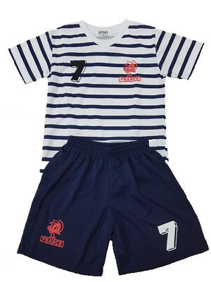 Boys Kids Sports World Cup France Football Soccer Team Shorts Set 2-14 years