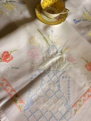Beautiful Large White Table Cloth Delicate Pastels Cross Stitch Vintage Linens