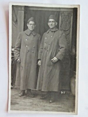 WWI Postcard Antique Soldiers In Uniform Standing Trench Coats WW1 Vintage #5520