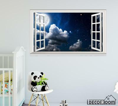 Moon Clouds Sky Full moon Nature windows wall sticker