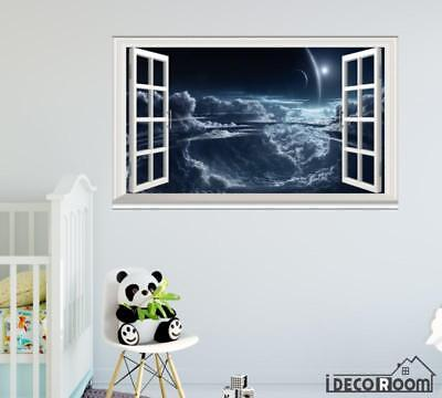Moon Planets Clouds Space windows wall sticker