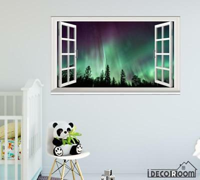 Northern Lights Forest Aurora Borealis Nature windows wall sticker