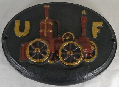 United Firemens Fire Mark Large Cast Iron Plaque UF Insurance Reproduction
