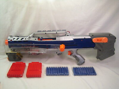 Custom Painted and Modified Nerf Longshot Blaster w/ Darts Pump Grip & 2 6 clips
