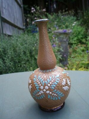 Small Antique Royal Doulton Slater'S Patent Stoneware Thin Necked Bulbous Vase