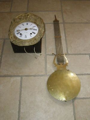 Old movement of comtoise with lyre pendulum, Diameter 27cm