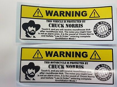 Stikers Chuck Norris Warning For Bike And Car!!