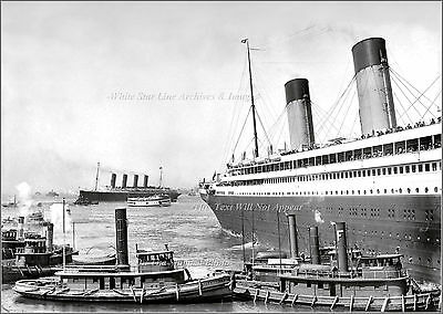 Photo Print: Nice: The RMS Olympic (Rt) & The RMS Lusitania in NY, June 21, 1911