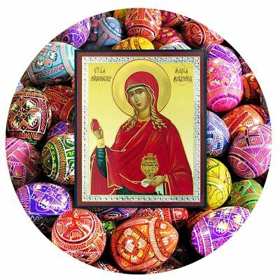 """6 Assorted Colorful Wooden Ukranian Pysanki Eggs and St Mary Magdalene Icon 3"""""""