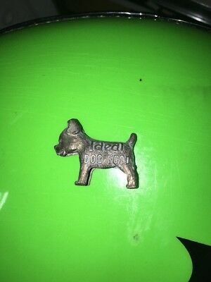 Vintage Advertising Ideal Dog Food Good Luck Charm Miniature Scotty Dog Metal