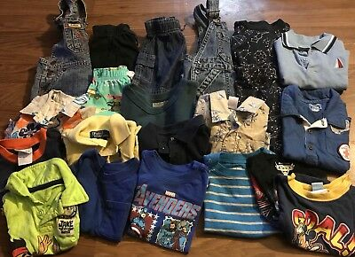 Baby Boys Summer Clothes shorts tees Bib Overalls sz 12/18 months Lot of 21