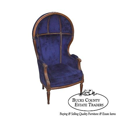 French Louis XVI Style Vintage Blue Hooded Porters Chair