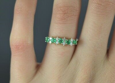 $1,595 14K Yellow Gold Colombian Green Emerald Round Diamond Ring Band Size 6