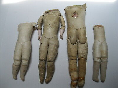 Four German Antique Leather Doll Bodies, As Is
