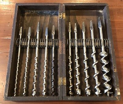 Antique Vintage Auger Drill Bits In Wooden Box James Swan, Irwin, Worth, Pemco