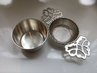 Superb Antique  J.b. Chatterley Silver Plated Tea Strainer And Drip Tray