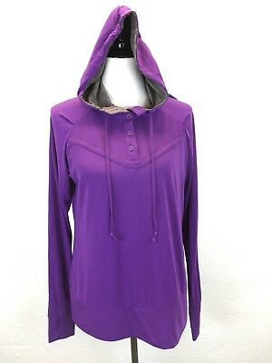 34d44d9b3c S29 The North Face Women Sz L Purple Athletic Hoodie Pullover Thumb Holes