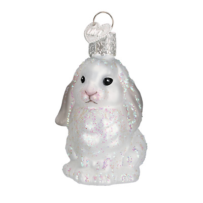 """Baby Bunny"" (White) (12365)X Old World Christmas Glass Ornament w/OWC Box"