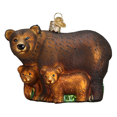 """""""Bear with Cubs"""" (12199)X Old World Christmas Glass Ornament w/OWC Box"""