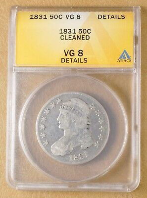 1831 Capped Bust Half Dollar ANACS VG 8 Details