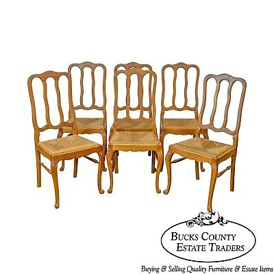 French Country Style Antique Set Oak Rush Seat Dining Chairs