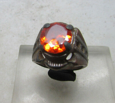 Beautiful Post Medieval Bronze Ring With Stone Insert