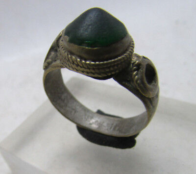 Beautiful Post Medieval Silvered Bronze Ring With Stone Insert.