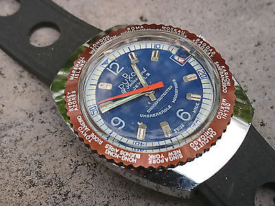 Vintage 1970´s NOS Duxot World Time Swiss Made Date 17 Juwels Brown