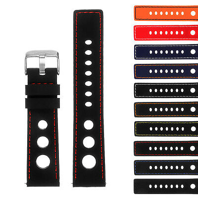 StrapsCo Silicone Rubber GT Rally Racing Watch Band  - Quick Release Strap