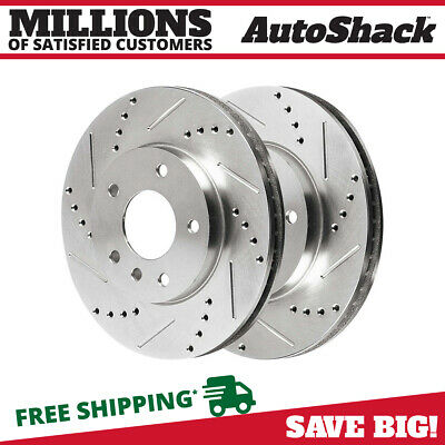 Rear Pair (2) Silver Drilled Slotted Rotors 5 Stud Fits 2001-2005 2006 BMW 330Ci