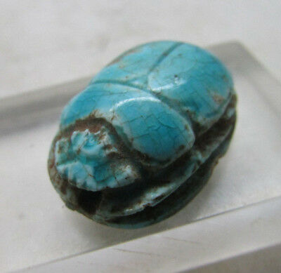 Circa 664-332Bc Ancient Egypt Glazed Faience Scarab Bead Seal