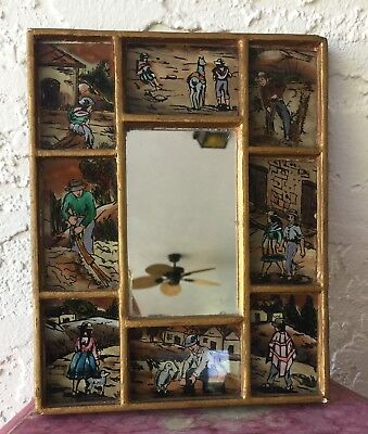 Antique South American Reverse Painted Pictorial framed Mirror ~ Llama/ Farming