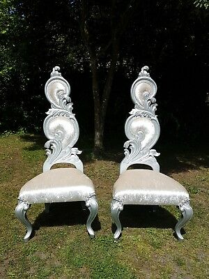 Rococo Throne Chairs - Silver and Ivory - Wedding Birthday - Pair