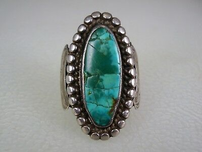 VERY OLD Fred Harvey era NAVAJO STERLING SILVER & GREEN TURQUOISE RING size 7