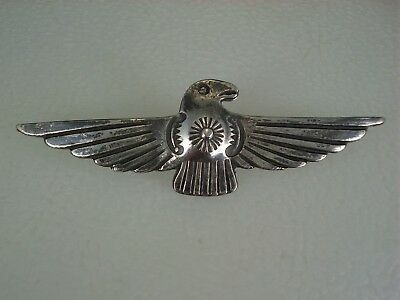 EARLY Fred Harvey era STAMPED STERLING SILVER THUNDERBIRD PIN