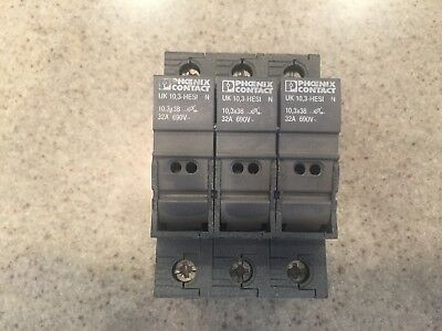 Preowned Phoenix Contact Fuse Holder Uk 10,3-Hesi N Lot Of Three