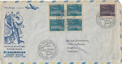 Sweden - 1949 - Airmail first flight cover to Thailand + 1930 Air and contents