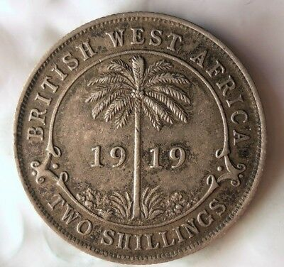 1919 BRITISH WEST AFRICA 2 SHILLINGS - Rare African Silver Coin - Lot #612