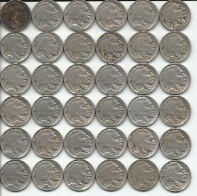 36pc. Lot of Mixed Date Buffalo Nickels *Mostly in the 20's*
