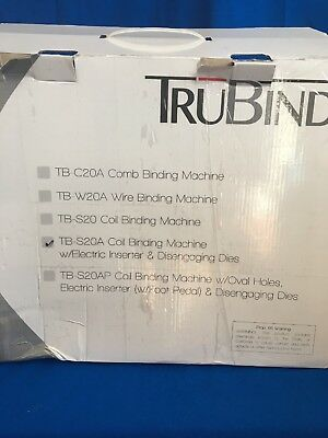 TruBind TB-S20A 4:1 Coil Binding Machine with Electric Coil Inserter